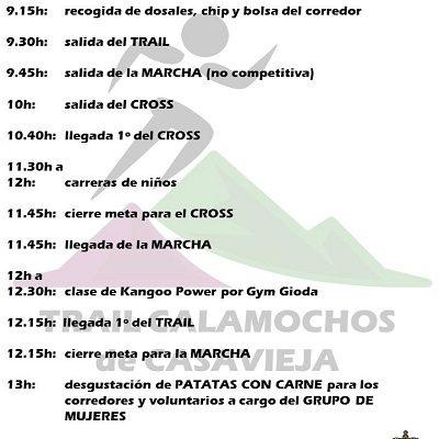 HORARIO DE I TRAIL LOS CALAMOCHOS Y RECORRIDO DEL MINI TRAIL