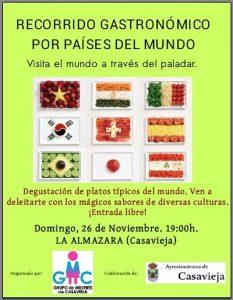 """Recorrido gastronómico por diferentes países. @ Centro Polivalente """"La Almazara""""."""