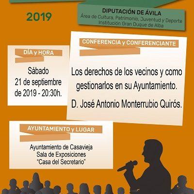 """CONFERENCIA """"LOS DERECHOS DE LOS VECINOS Y COMO GESTIONARLOS EN SU AYUNTAMIENTO"""""""