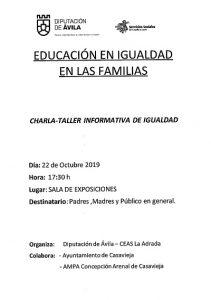 """Charla-taller """"Educación en Igualdad en las Familias"""" @ Sala de Exposiciones """"Casa del Secretario"""""""