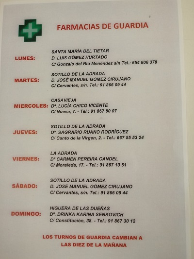 FARMACIAS DE GUARDIA 17-02-2020 AL 23-02-2020