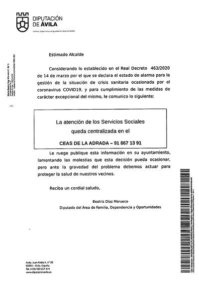 SERVICIOS SOCIALES QUEDA CENTRALIZADA EN CEAS LA ADRADA