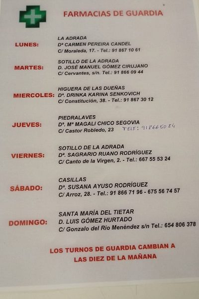 FARMACIAS DE GUARDIA 02-03-2020 AL 08-03-2020