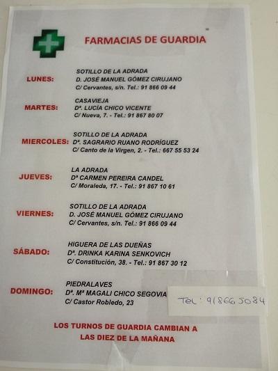 FARMACIAS DE GUARDIA 09-03-2020 AL 15-03-2020