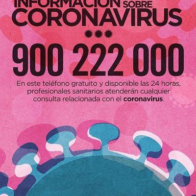 TELÉFONO DE INFORMACIÓN SOBRE CORONAVIRUS - 900 222 000
