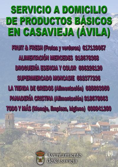 SERVICIO A DOMICILIO DE PRODUCTOS BÁSICOS EN CASAVIEJA (ÁVILA)