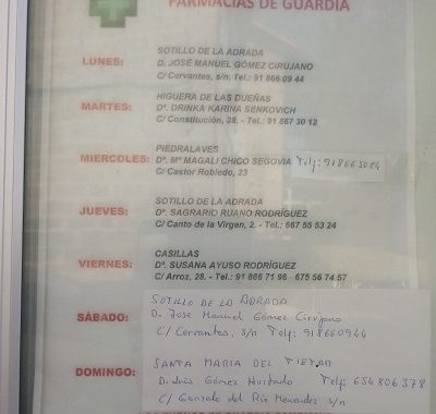 FARMACIAS DE GUARDIA 01-06-2020 AL 07-06-2020
