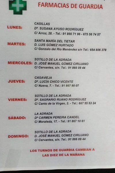 FARMACIAS DE GUARDIA 15-06-2020 AL 21-06-2020