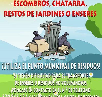 ¡UTILIZA EL PUNTO MUNICIPAL DE RESIDUOS!