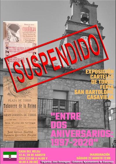 """SUSPENDIDA EXPOSICIÓN """"ENTRE DOS ANIVERSARIOS: 1997-2020"""""""