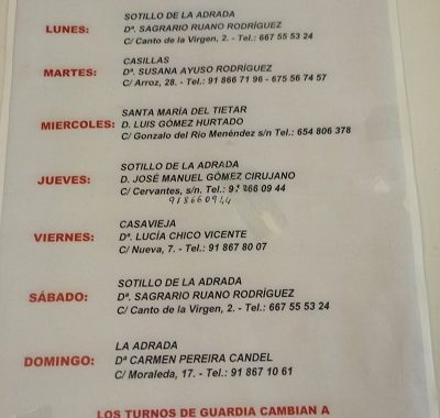 FARMACIAS DE GUARDIA 03-08-2020 AL 09-08-2020