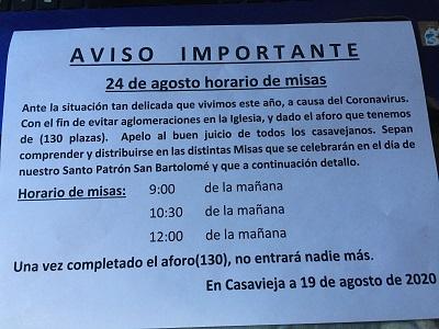 HORARIO DE MISAS DÍA DE SAN BARTOLOMÉ