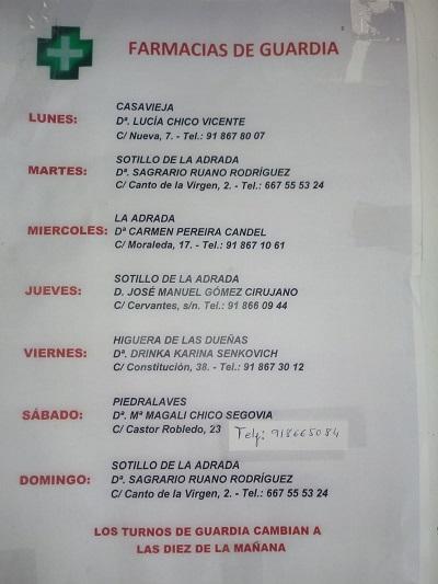 FARMACIAS DE GUARDIA 26-10-2020 AL 01-11-2020