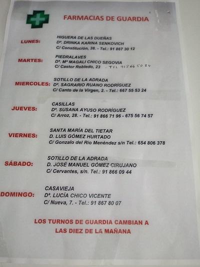 FARMACIAS DE GUARDIA 09-11-2020 AL 15-11-2020