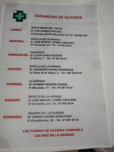 FARMACIAS DE GUARDIA 23-11-2020 AL 29-11-2020