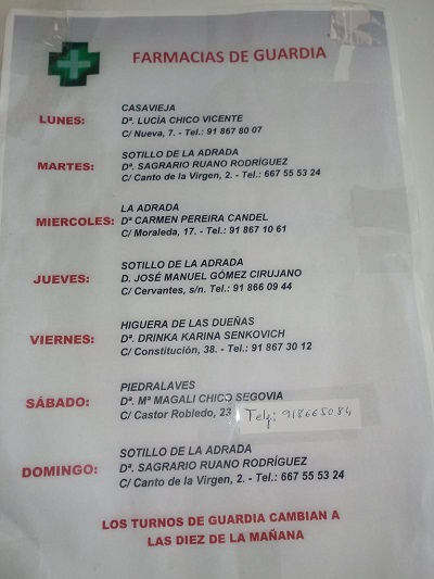 FARMACIAS DE GUARDIA 04-01-2021 AL 10-01-2021