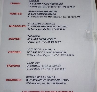 FARMACIAS DE GUARDIA 11-01-2021 AL 17-01-2021