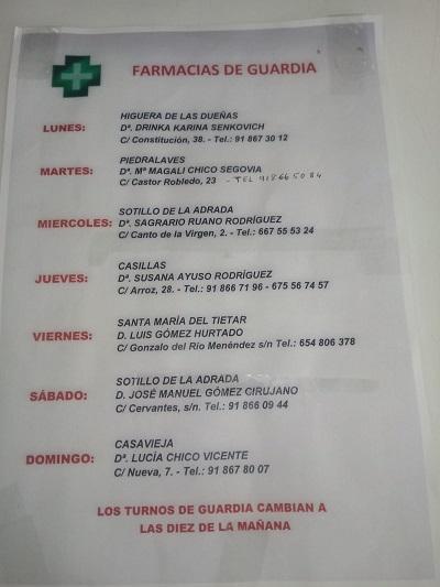 FARMACIAS DE GUARDIA 18-01-2021 AL 24-01-2021