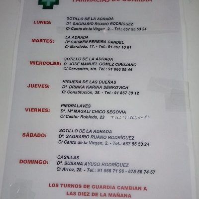 FARMACIAS DE GUARDIA 25-01-2021 AL 31-01-2021