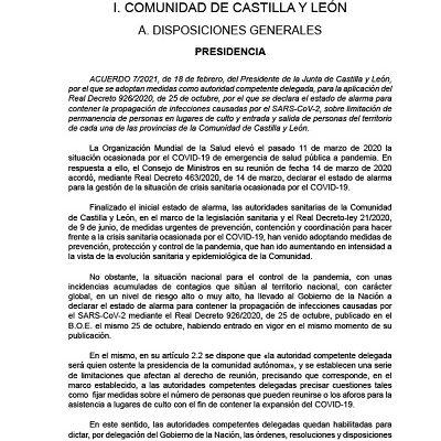 LIMITACIÓN EN LUGARES DE CULTO Y MOVILIDAD DE CADA UNA DE LAS PROVINCIAS DE CYL