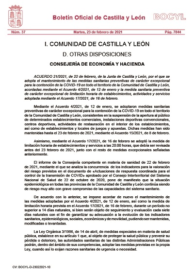 MANTENIMIENTO DE LAS MEDIDAS SANITARIAS PREVENTIVAS DE CARÁCTER EXCEPCIONAL