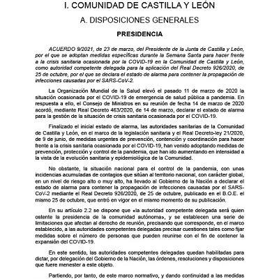 MEDIDAS FRENTE AL COVID-19 EN SEMANA SANTA