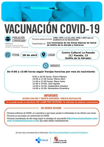 VACUNACIÓN COVID-19 NACIDOS EN 1958 Y 1959, Y EN LOS AÑOS 1956 Y 1957 QUE NO ACUDIERON EN SU LLAMAMIENTO