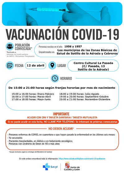 VACUNACIÓN COVID-19 NACIDOS EN 1956 Y 1957