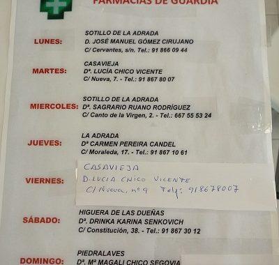 FARMACIAS DE GUARDIA 03-05-2021 AL 09-05-2021