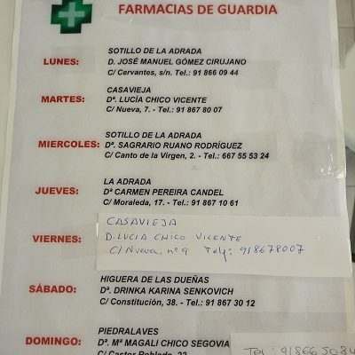 FARMACIAS DE GUARDIA 03-05-2021 AL 09-05-2021