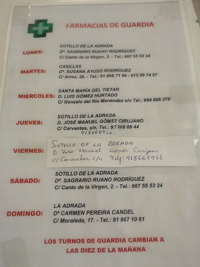 FARMACIAS DE GUARDIA 10-05-2021 AL 16-05-2021