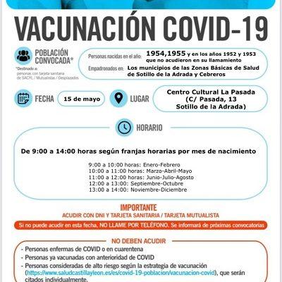 VACUNACIÓN COVID-19 NACIDOS EN 1954 Y 1955, Y EN LOS AÑOS 1952 Y 1953 QUE NO ACUDIERON EN SU LLAMAMIENTO