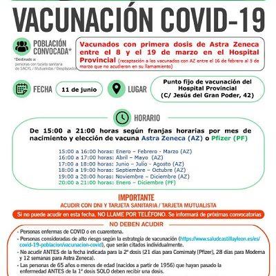VACUNACIÓN SEGUNDA DOSIS DE VACUNADOS CON ASTRA ZENECA ENTRE 8 Y 19 DE MARZO EN EL HOSPITAL PROVINCIAL