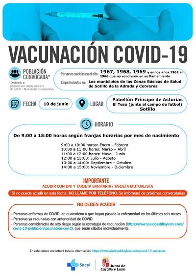 VACUNACIÓN COVID-19 NACIDOS EN 1967, 1968 Y 1969, Y DEL 1962 AL 1966 QUE NO ACUDIERON EN SU LLAMAMIENTO