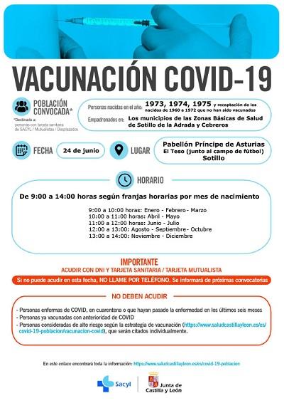 VACUNACIÓN COVID-19 NACIDOS EN 1973, 1974 Y 1975, Y ENTRE LOS AÑOS 1960 Y 1972 QUE NO HAN SIDO VACUNADOS