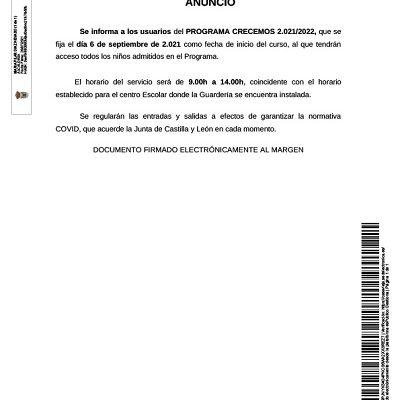 ANUNCIO - INICIO CURSO PROGRAMA CRECEMOS 2021/2022