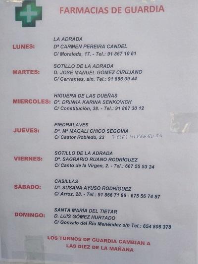 FARMACIAS DE GUARDIA 05-07-2021 AL 11-07-2021