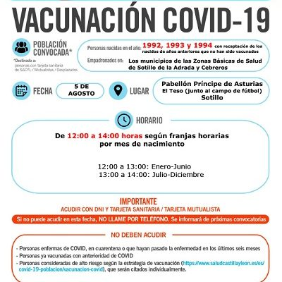 VACUNACIÓN COVID-19 NACIDOS EN 1992, 1993 Y 1994, Y AÑOS ANTERIORES QUE NO HAN SIDO VACUNADOS
