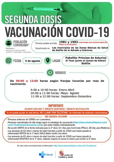 VACUNACIÓN SEGUNDA DOSIS DE VACUNADOS CON PFIZER EL 15 DE JULIO NACIDOS EN 1981 Y 1982