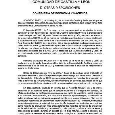 MEDIDAS ESPECIALES FRENTE AL COVID-19 EN CASTILLA Y LEÓN