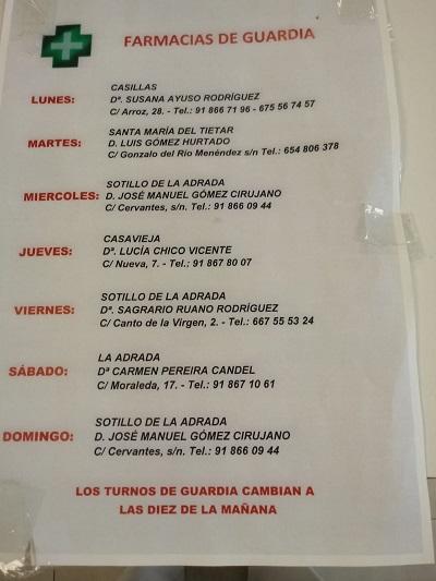 FARMACIAS DE GUARDIA 09-08-2021 AL 15-08-2021