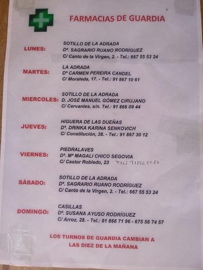 FARMACIAS DE GUARDIA 23-08-2021 AL 29-08-2021