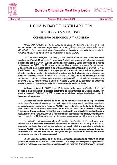 MANTENIMIENTO DE LAS MEDIDAS ESPECIALES DE SALUD PÚBLICA EN CASTILLA Y LEÓN