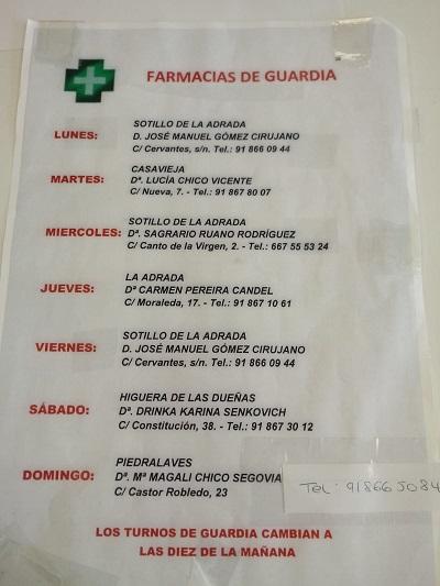 FARMACIAS DE GUARDIA 20-09-2021 AL 26-09-2021